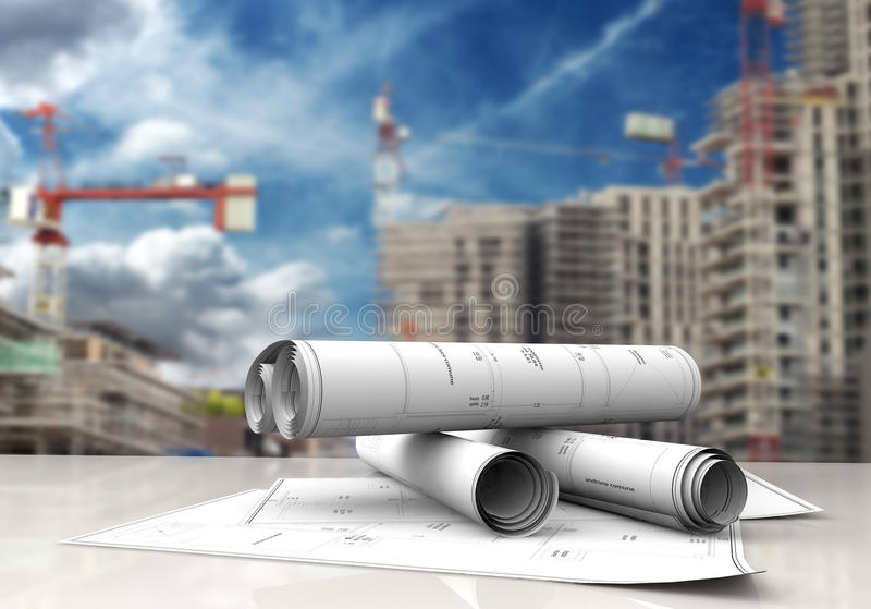 Construction blueprints. Technical blueprints on white table in a construction site royalty free illustration
