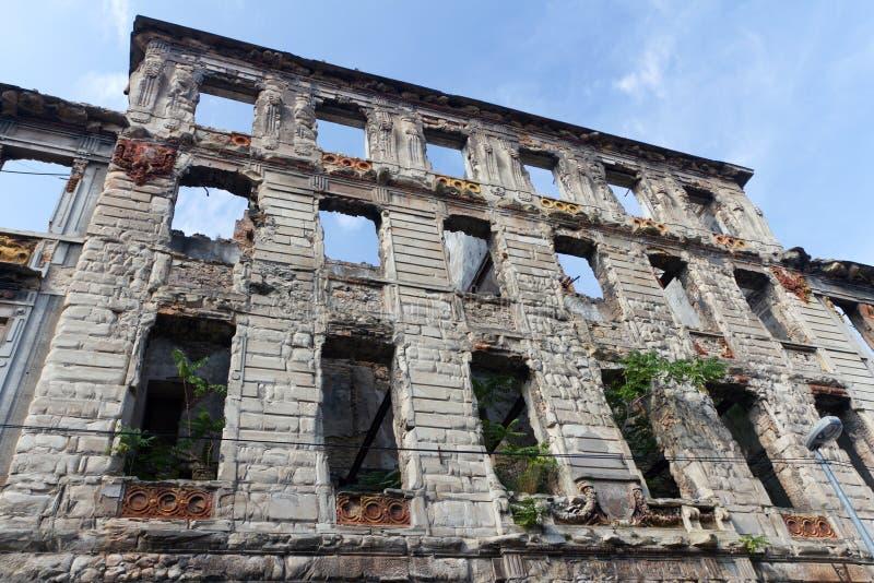 Construction bombardée à Mostar, Bosnie-et-Herzégovine photo libre de droits