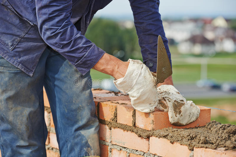 Construction bricklayer work royalty free stock photo