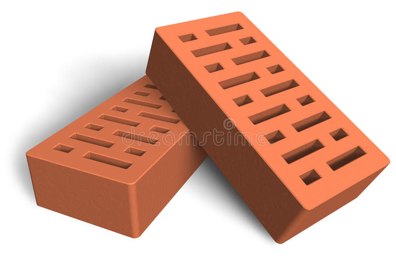 Construction bricks. Red ceramic construction bricks isolated over white background royalty free illustration