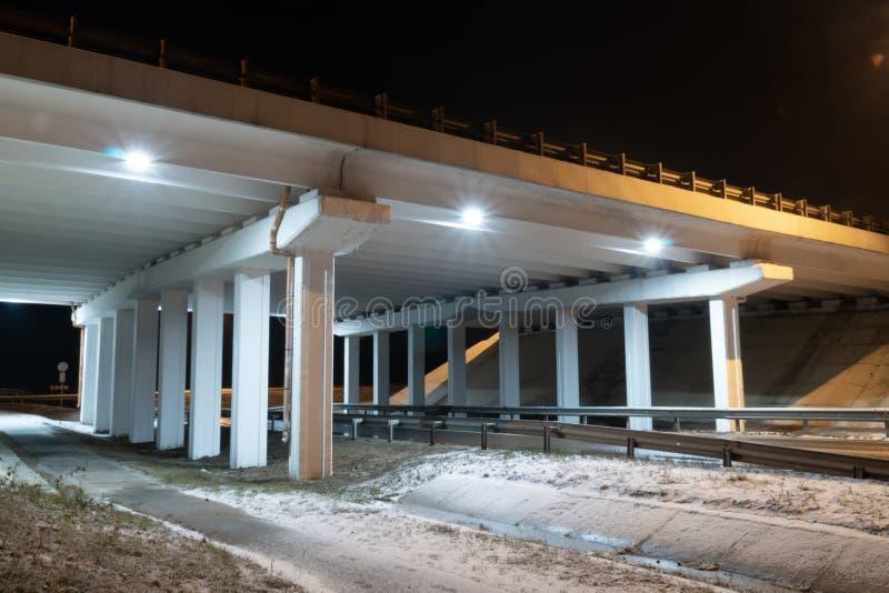 Construction bridge light blue transportation night architecture. Winter night road royalty free stock photography