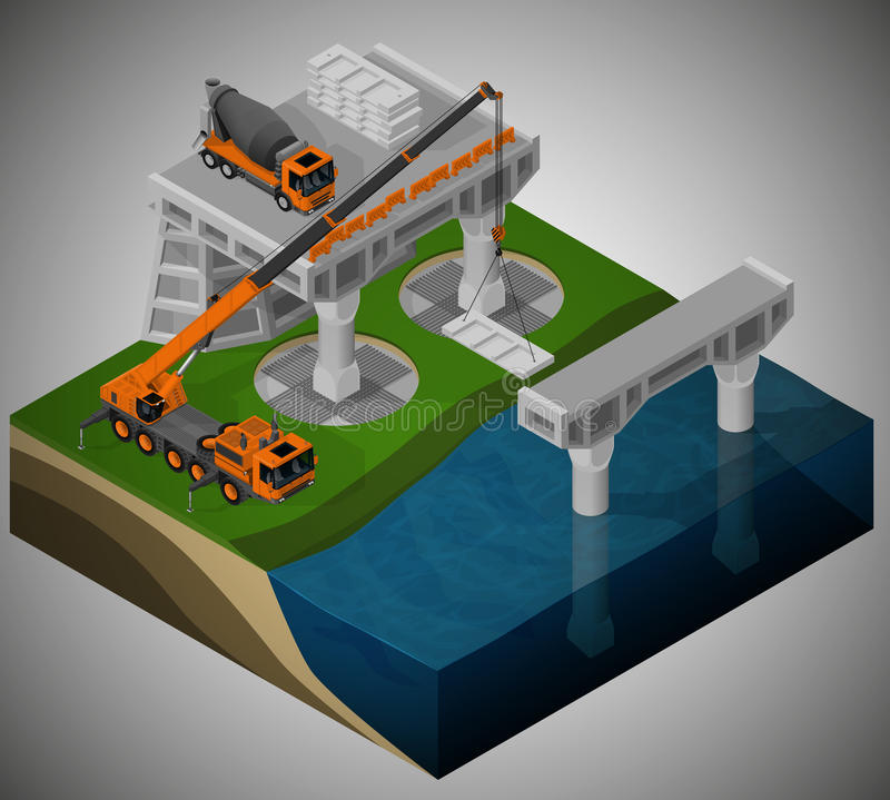 Construction of a bridge and machinery involved. vector illustration