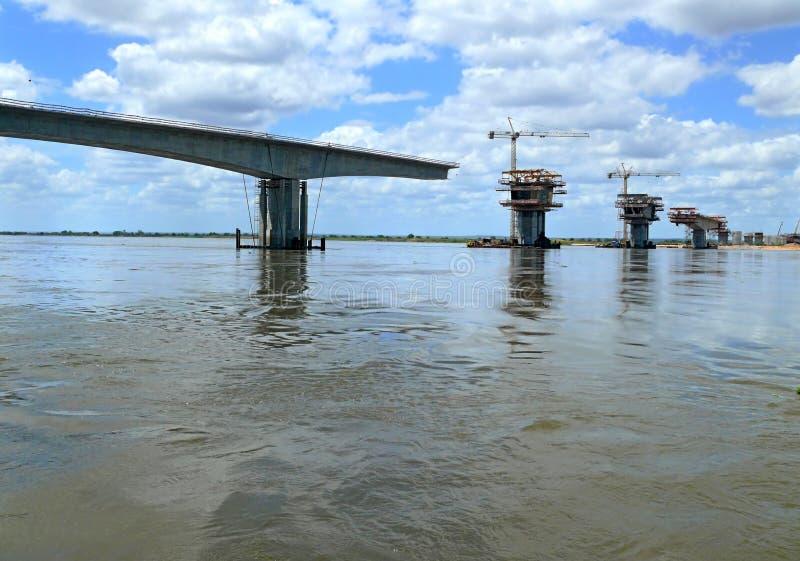 Construction of a bridge over the Zambezi river. royalty free stock photography