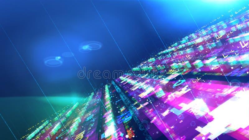 Construction brillante de l'espace avec des vaisseaux spatiaux illustration stock