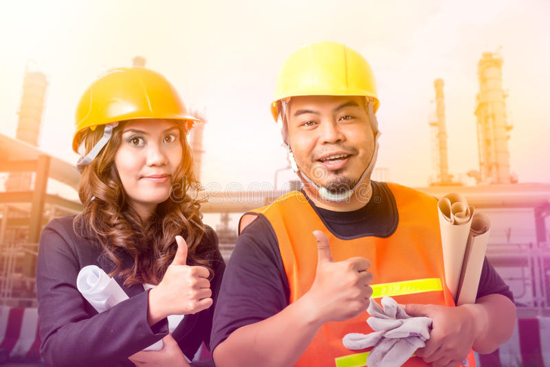 Construction builder and business woman royalty free stock photos