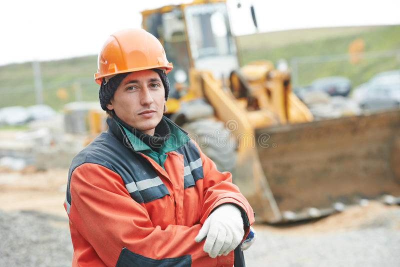 Construction builder worker portrait stock photo