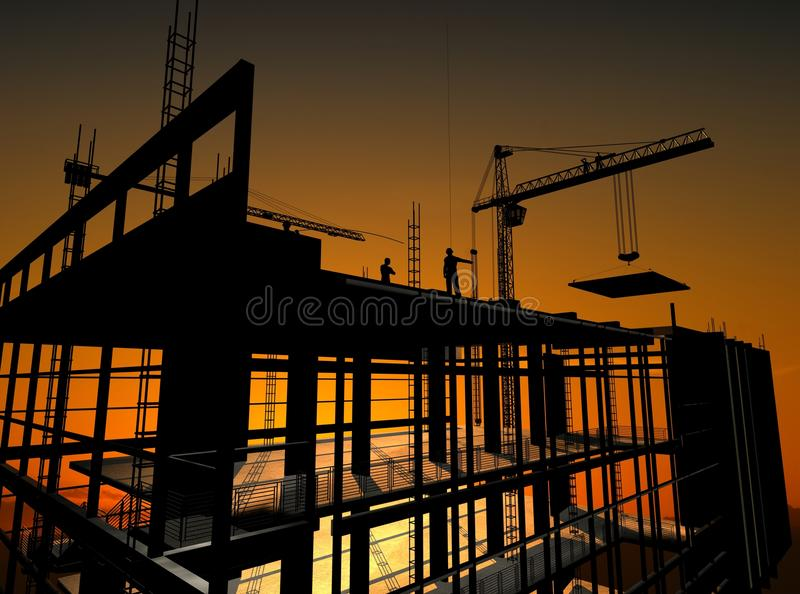 Construction of a building vector illustration