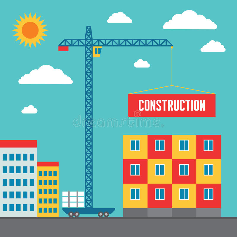 Construction of Building - Concept Vector Illustration in Flat Style Design royalty free illustration