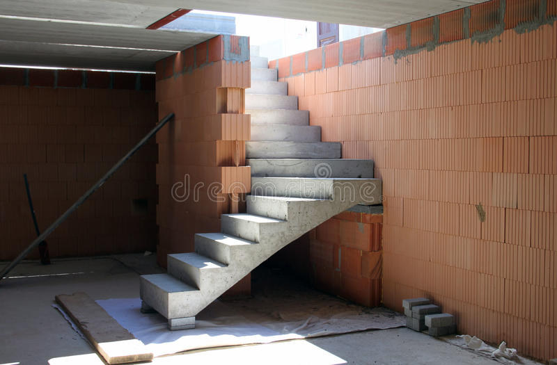 Construction of building concrete stairs stock photo for New house construction steps