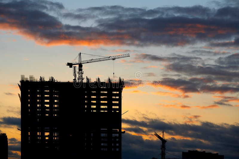 Construction of a building on a decline royalty free stock photo