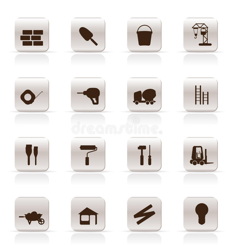 Construction and Building Icon Set. royalty free illustration