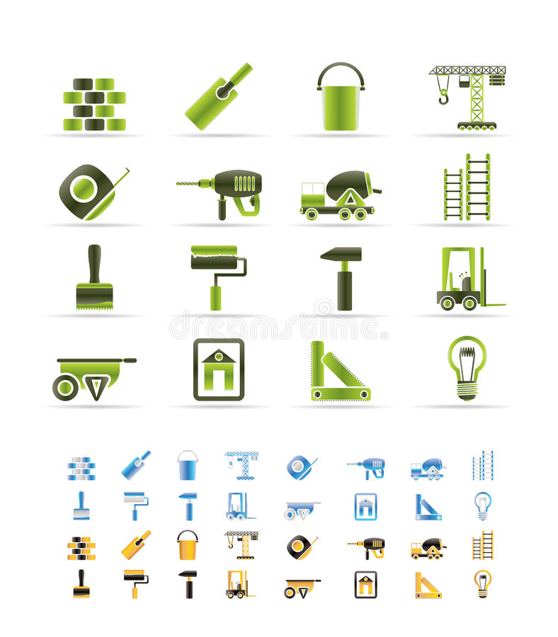 Construction and Building icons stock illustration