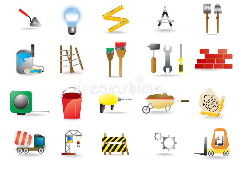 Construction and building icons. Vector set of construction and building icons vector illustration