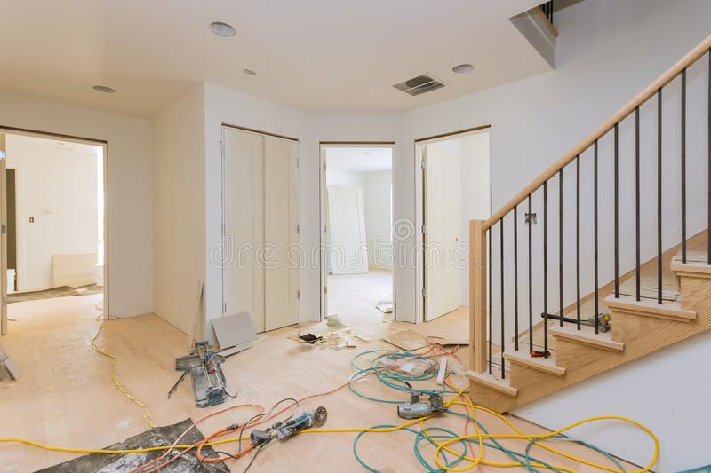Construction building industry new home construction interior drywall and finish details. Construction building industry new home construction interior drywall royalty free stock photos