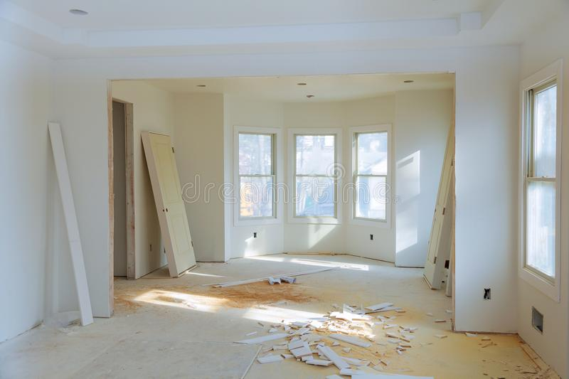 Construction building industry new home construction interior drywall tape. Building construction gypsum plaster walls. Interior construction of housing royalty free stock photography