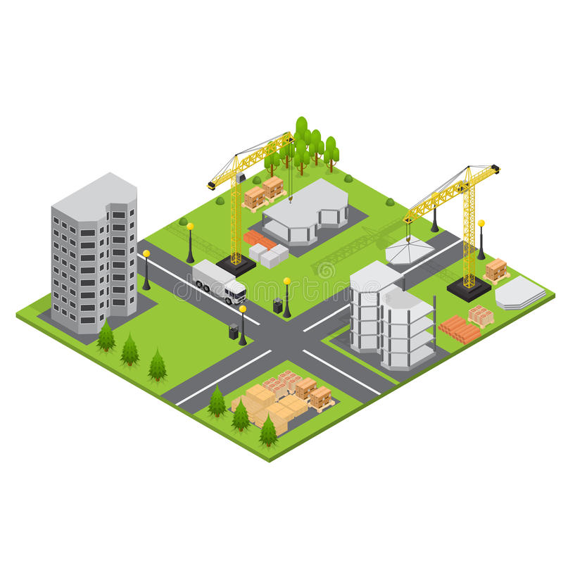 Construction Building Isometric View. Vector. Construction Building Quarter of City Isometric View Landscape with Trees and House. Vector illustration royalty free illustration