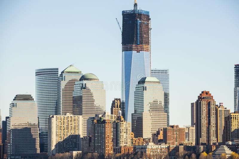 Construction of One World Trade Center Freedom Tower stock images