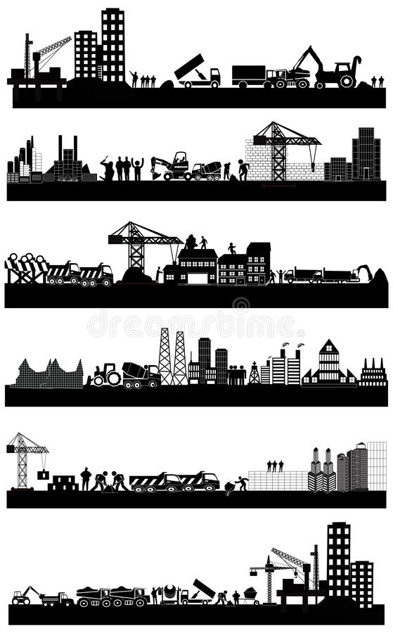 Construction building site. Set in black vector illustration