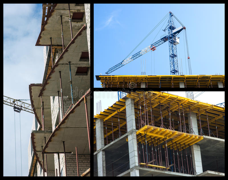 Construction of buildings collage. Made of three images. Building under construction, working crane stock images
