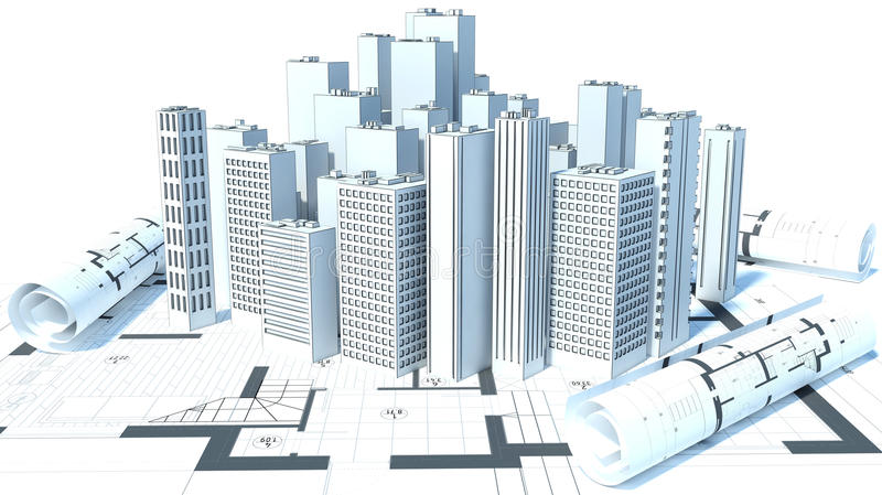Construction Of Buildings Drawings 3d Illustration Stock