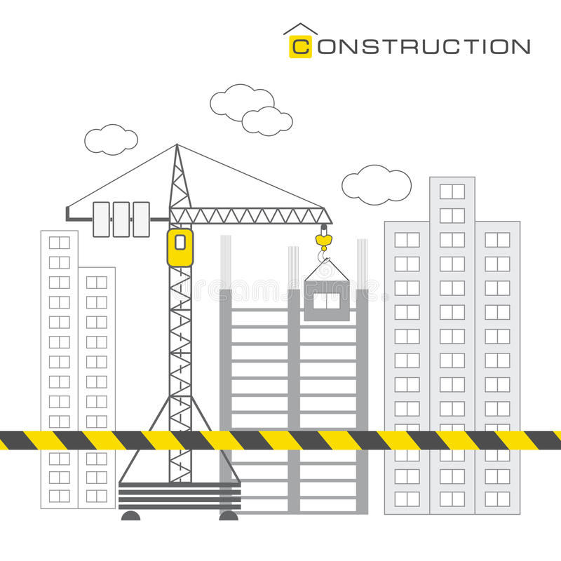 Construction of buildings on white background royalty free illustration