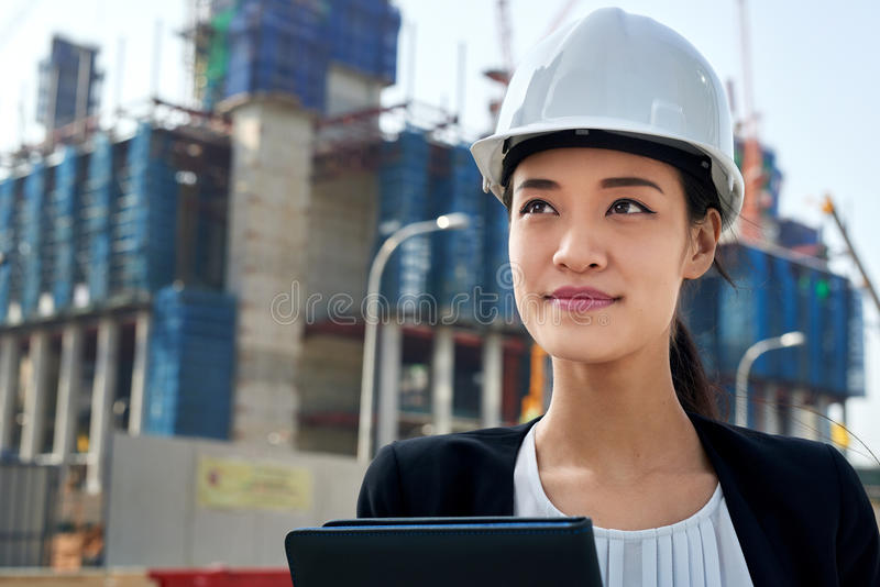 Construction business woman stock image