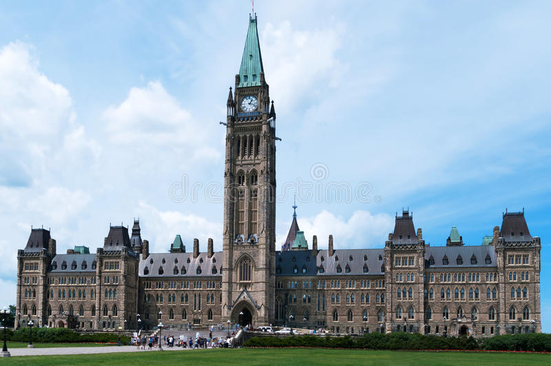 Construction canadienne du Parlement à Ottawa images stock
