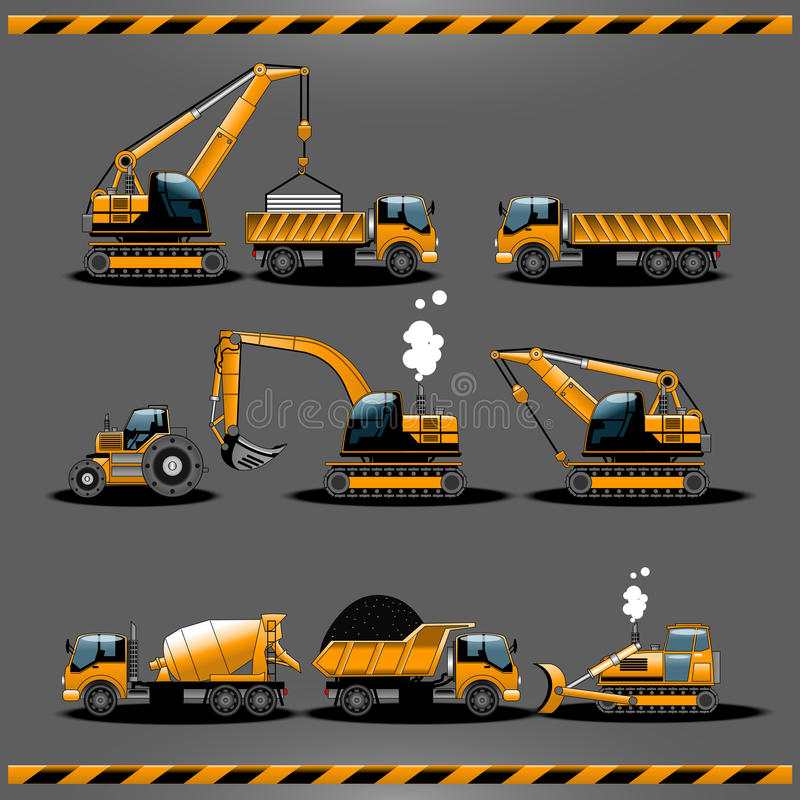 Construction Cars Vector Icon Set stock illustration