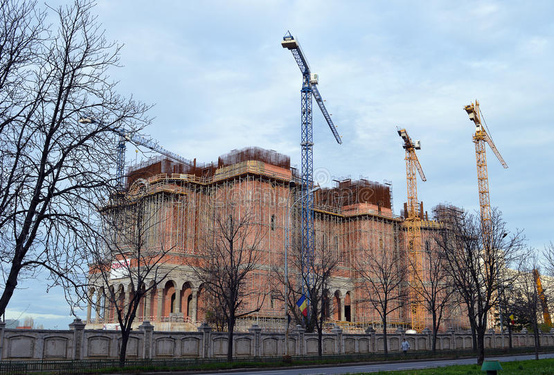 Construction of Cathedral of National Salvation, Bucharest, Romania royalty free stock photography