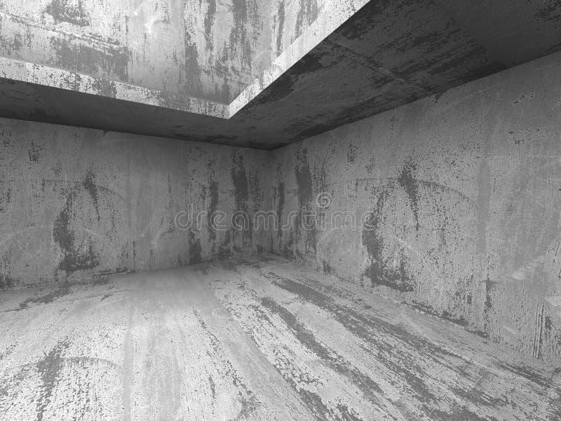 Construction chaotique en béton foncée Intérieur vide de pièce photo stock