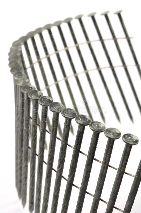 Construction Coil Nails Detail stock images