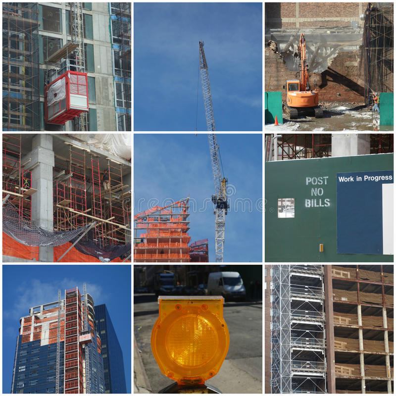 Construction Collage. A collage of construction photographs stock image