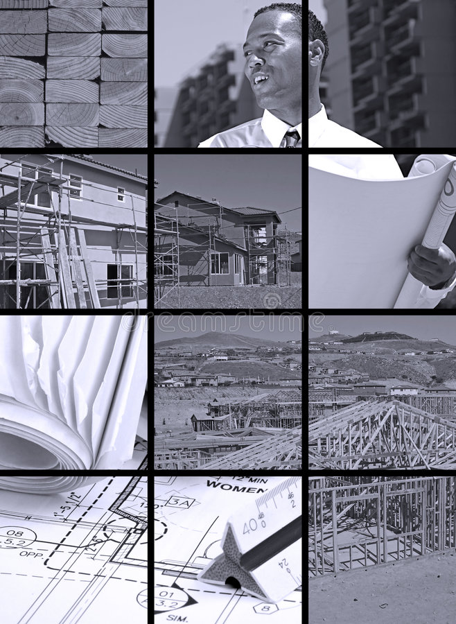 Construction Collage. Collection and collage of in progress construction scenes royalty free stock image