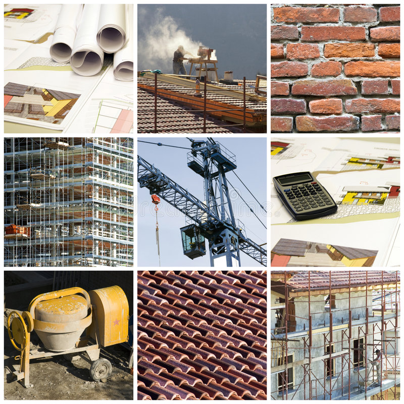 Construction collage. Collection and collage of Construction ambiance and scenes with grids stock images