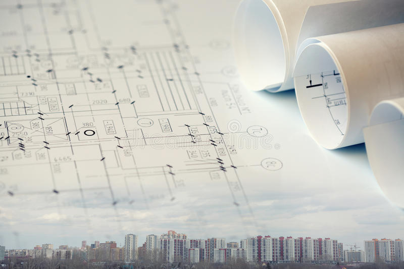 Construction collage concept. Collage with construction plans, buildings royalty free stock photos