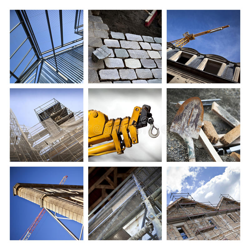 Construction collage. Construction sites and architecture on a collage stock photos