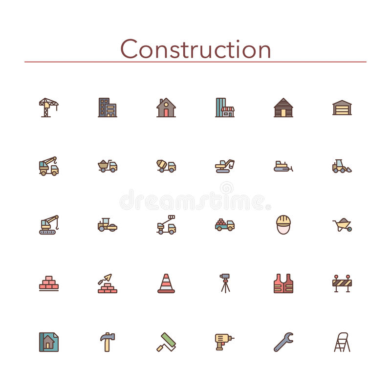 Construction Colored Line Icons vector illustration