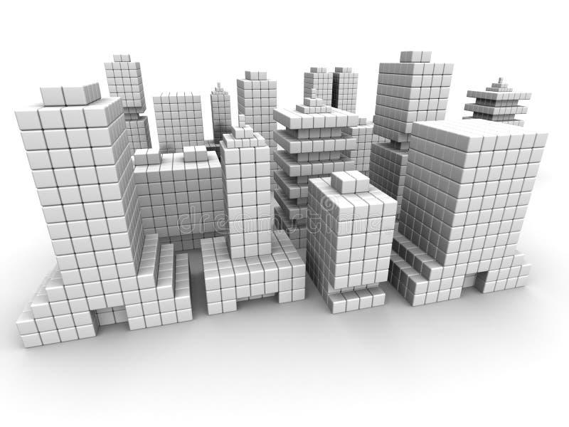 Construction commerciale d'affaires d'immeubles illustration libre de droits