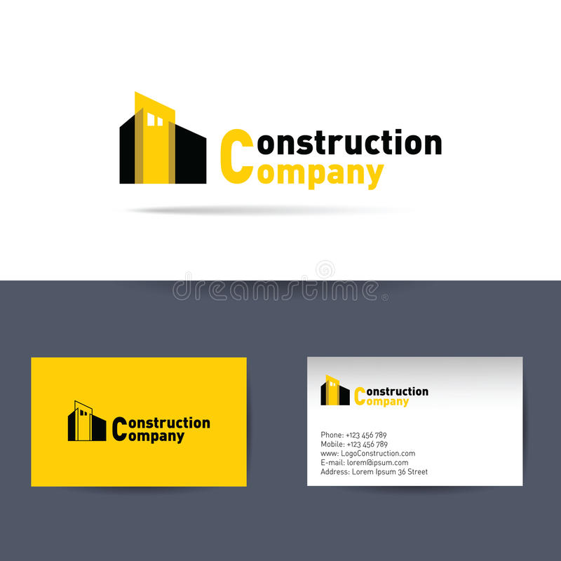 Construction company business card template stock vector download construction company business card template stock vector illustration of orange branding reheart Image collections