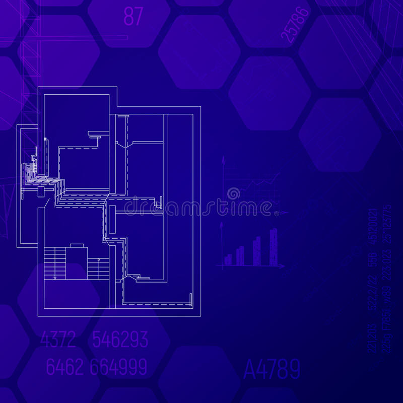 Construction concept. Blue print with a heating system. HVAC engineering graphics CAD. vector illustration