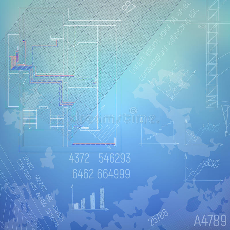 Construction concept. Blueprint with a heating system. HVAC engineering graphics. royalty free illustration