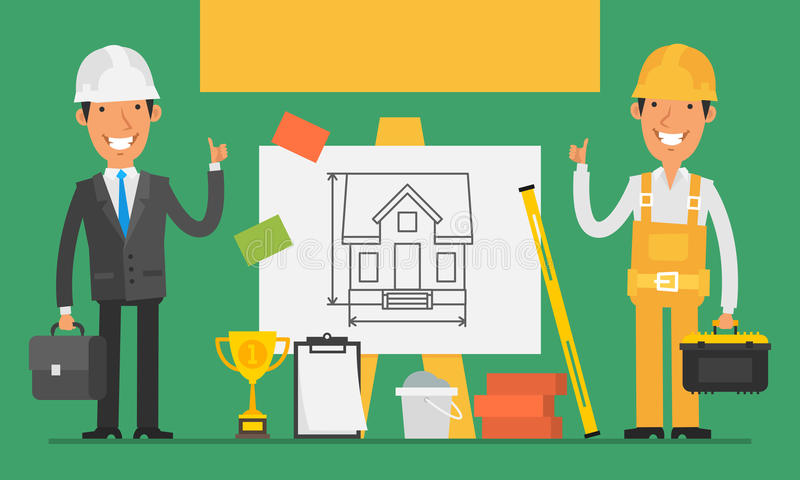 Construction Concept Engineer and Builder Show Thumbs Up royalty free illustration