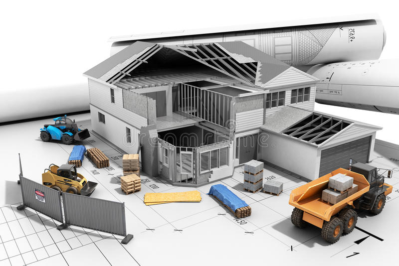 Construction concept House in building process Three-dimensional image 3d render. Construction concept House in building process Three-dimensional image 3d vector illustration