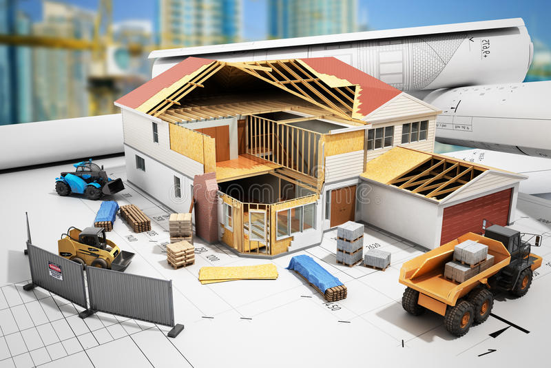 Construction concept House in building process Three-dimensional image 3d render. Construction concept House in building process Three-dimensional image 3d stock illustration