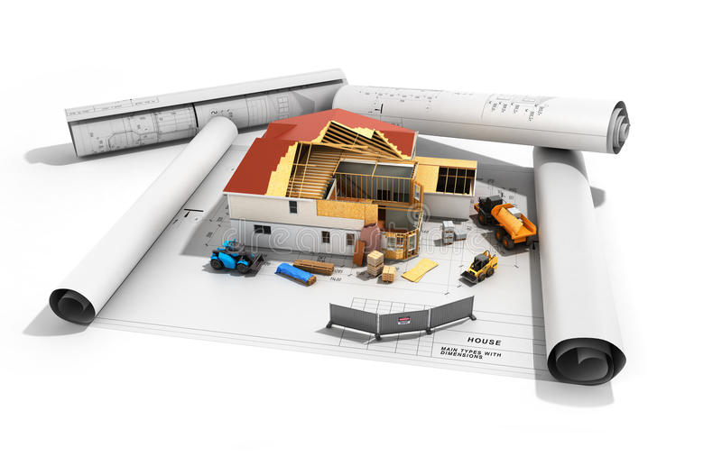 Construction concept House in building process Three-dimensional image 3d render vector illustration