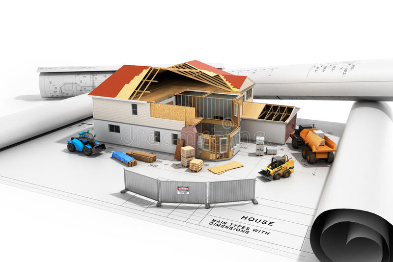 Construction concept House in building process Three-dimensional image 3d render stock illustration