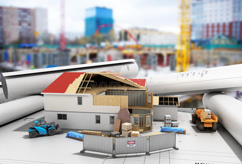 Construction concept House in building process Three-dimensional image 3d render building background stock illustration