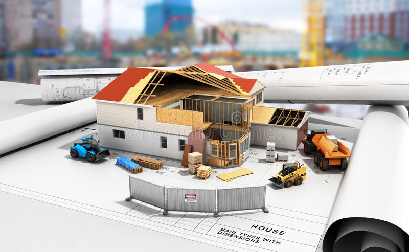 Construction concept House in building process Three-dimensional image 3d render building background royalty free illustration