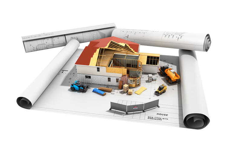 Construction concept House in building process Three-dimensional image 3d render no shadow vector illustration