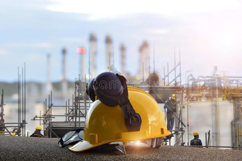 Construction concept , Security functions in the refinery. Always wear safety equipment and personal protective equipment. stock photography